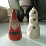 しがみさこさんの陶人形 サンタクロースと雪だるま
