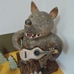 おぬきなつさん陶器人形 ギターを弾くクマ