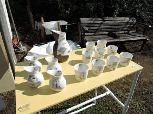梅田かん子さんの磁器作品の展示風景