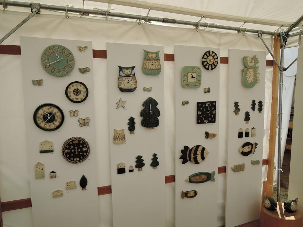 陶板の時計作品