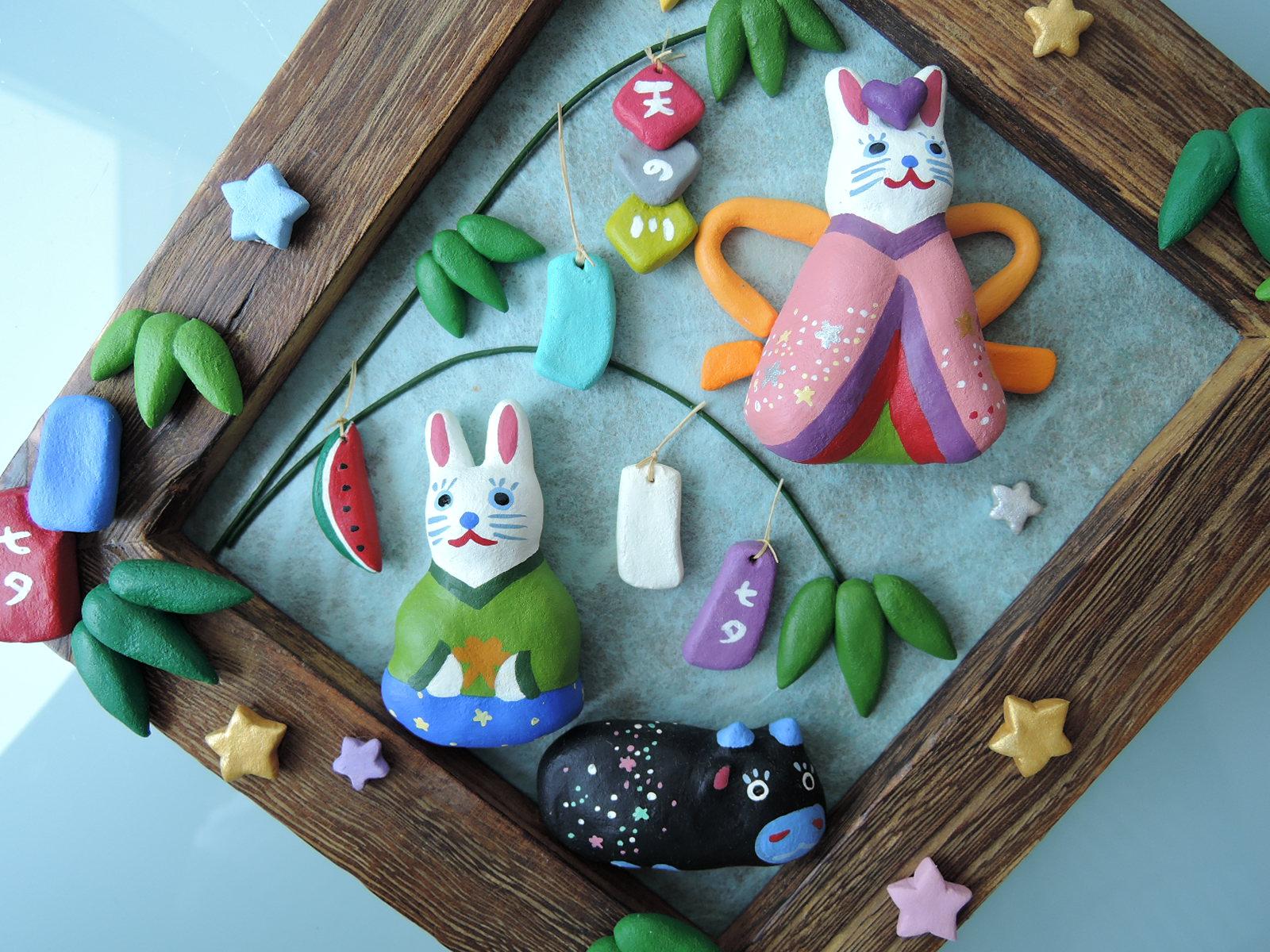 イトトモ屋さん うさぎの七夕 和風壁飾り2003