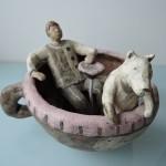 門脇美香江さんの陶製オブジェ 楽しい遊園地