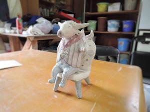 門脇美香江さん陶房 制作途中の作品