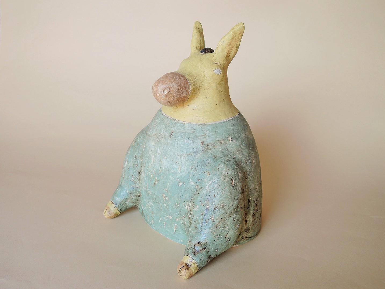 しがみさこさん陶器のオブジェ 動物の貯金箱 ロバ