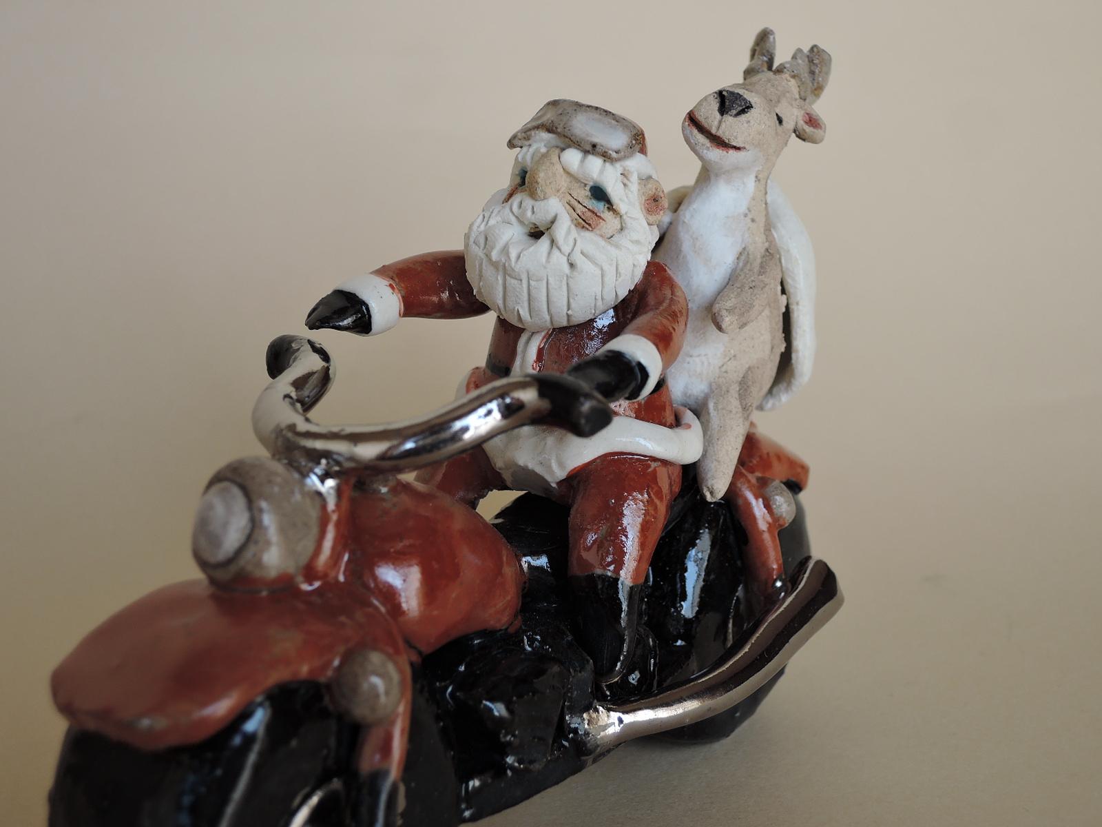 やなぎゆきおさん サンタクロースの置物 サンタのツーリング