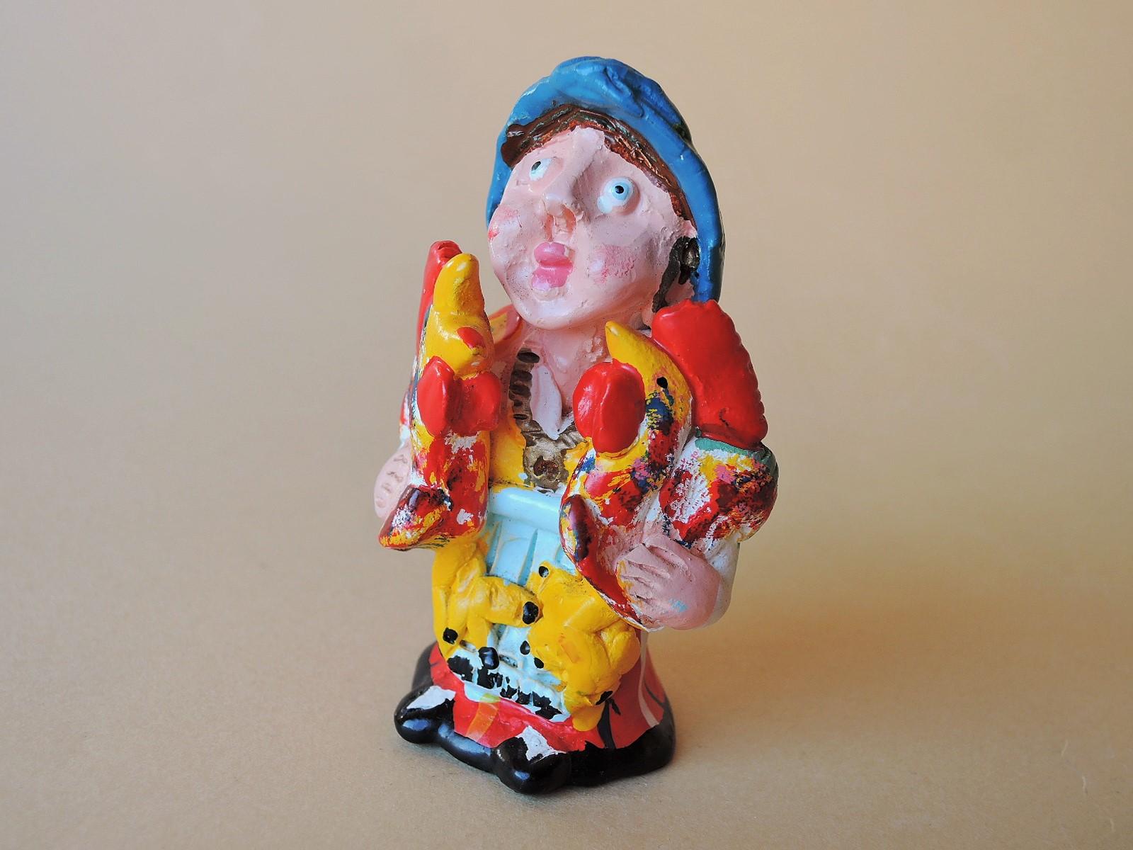 ポルトガル陶人形 Joao Ferreira作品 幸運のガロを両手に