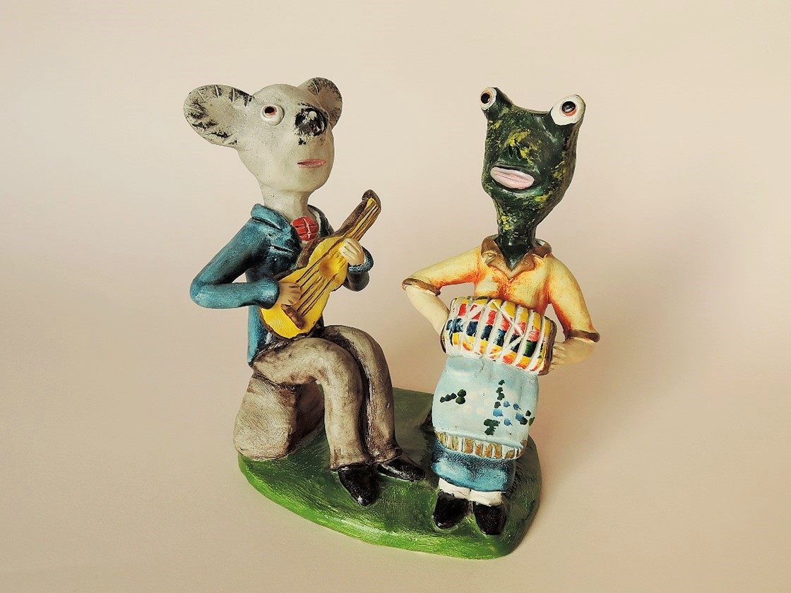 ポルトガル陶人形 コアラとかえるの二重奏 Joao Ferreira作品