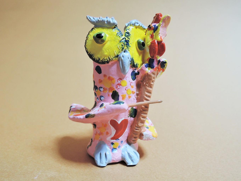 ポルトガル陶人形 JoaoFerreira作品 奏でるフクロウ